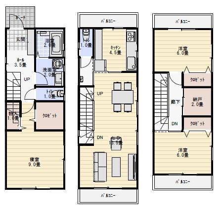 狭小敷地に建つ3階建ての間取り   家の間取り