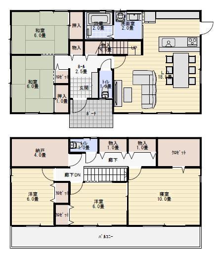 二世帯住宅 間取り プラン 40坪